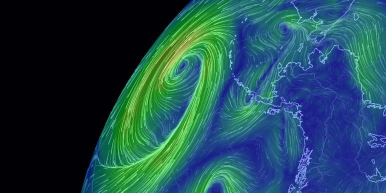 a global map of wind, weather, and ocean conditions
